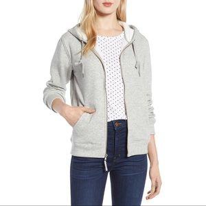 NWT J Crew Grey Velour-lined Sweatshirt/Hoodie